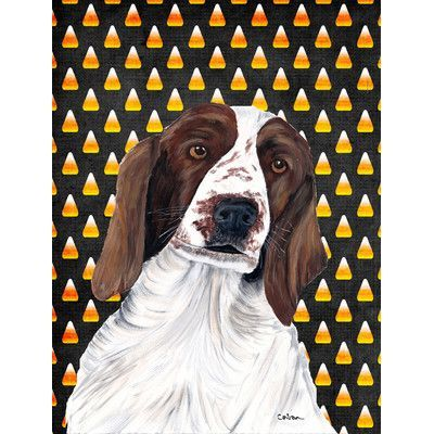 Caroline's Treasures Welsh Springer Spaniel Candy Corn Halloween House Vertical Flag
