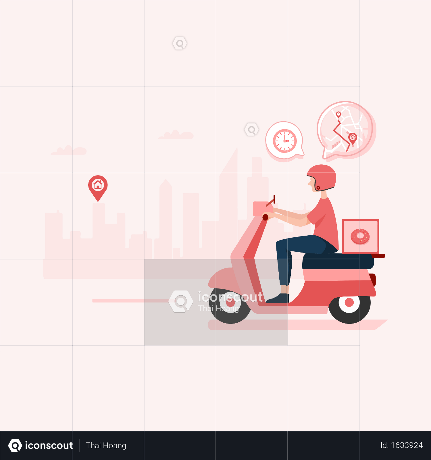 Premium Food Delivery Boy Travelling In City For Food Delivery Illustration Download In Png Vector Format Food Delivery Illustration Premium Food