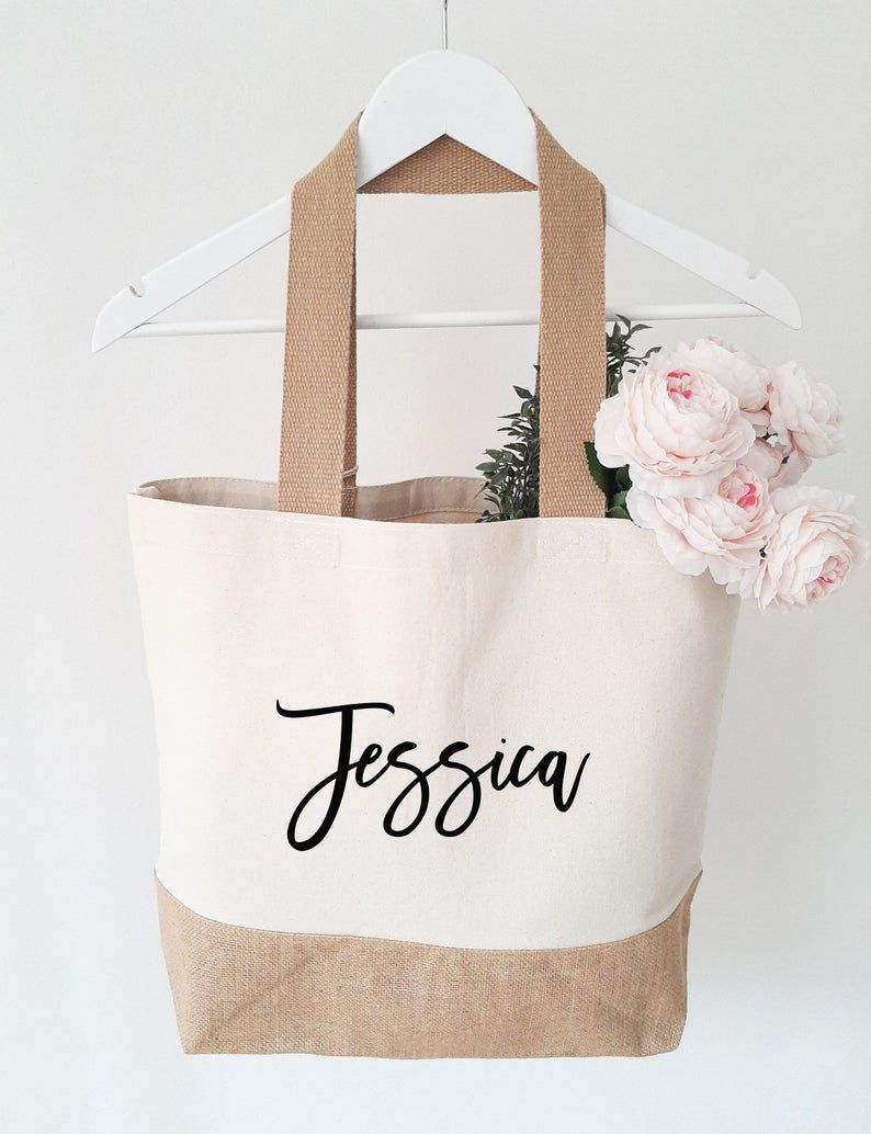 Personalized Bridesmaid Canvas Jute Bag Personalized Beach | Etsy