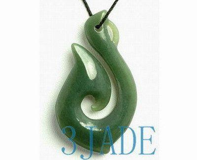 f7854c9468bf1 Natural Nephrite Jade Fish Hook Hei Pendant New Zealand Maori Style ...