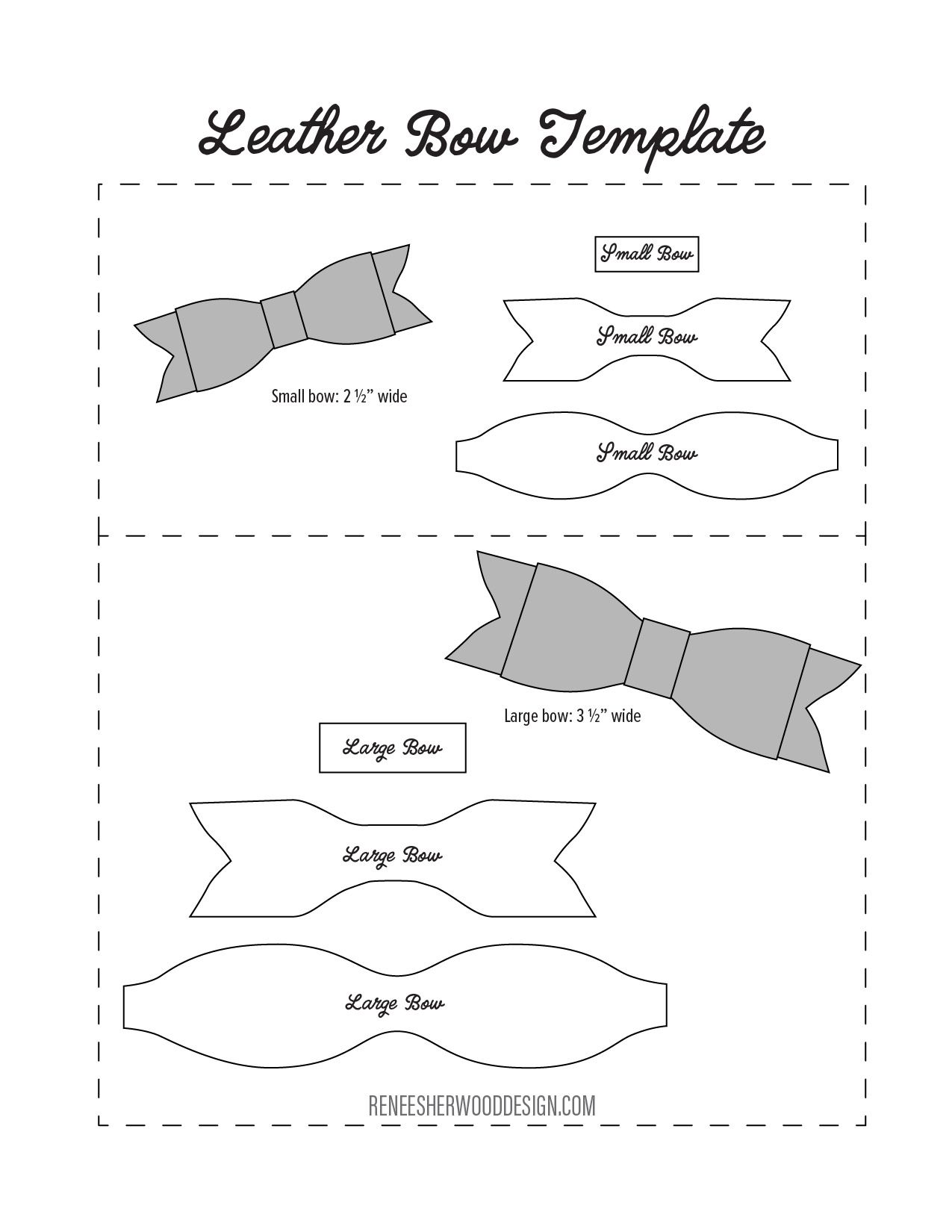 image relating to Free Printable Hair Bow Templates named Absolutely free No Sew Leather-based or Felt Bow Template obtain at www