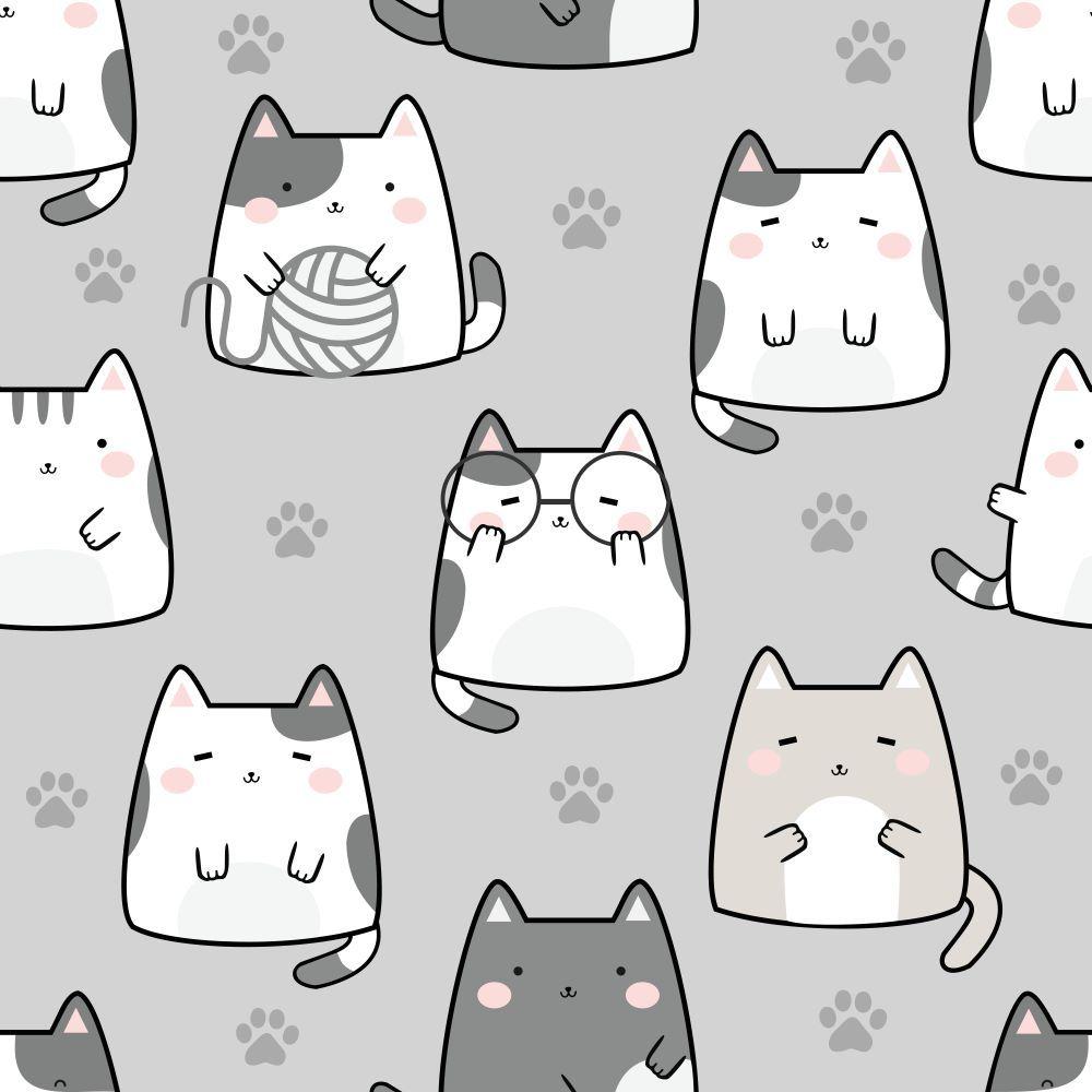 Seamless Pattern Kawaii Cute Cats Cartoon In 2020 Cartoon Cat Cute Cats Cats