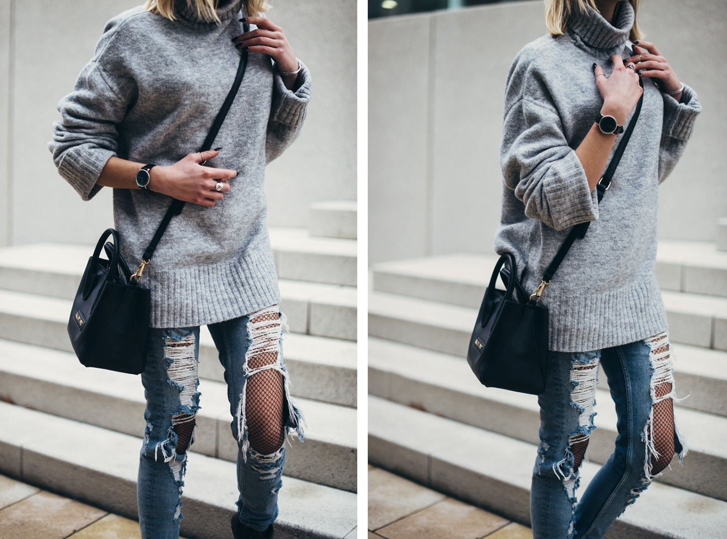 streetstyle trends oversized pullover destroyed jeans ash stiefelette netzstrumpfhose. Black Bedroom Furniture Sets. Home Design Ideas