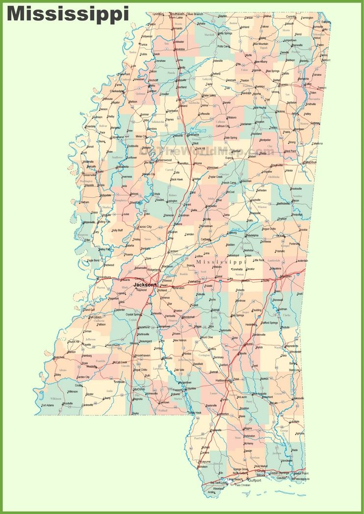 Road Map Of Mississippi With Cities State Maps Printable Maps