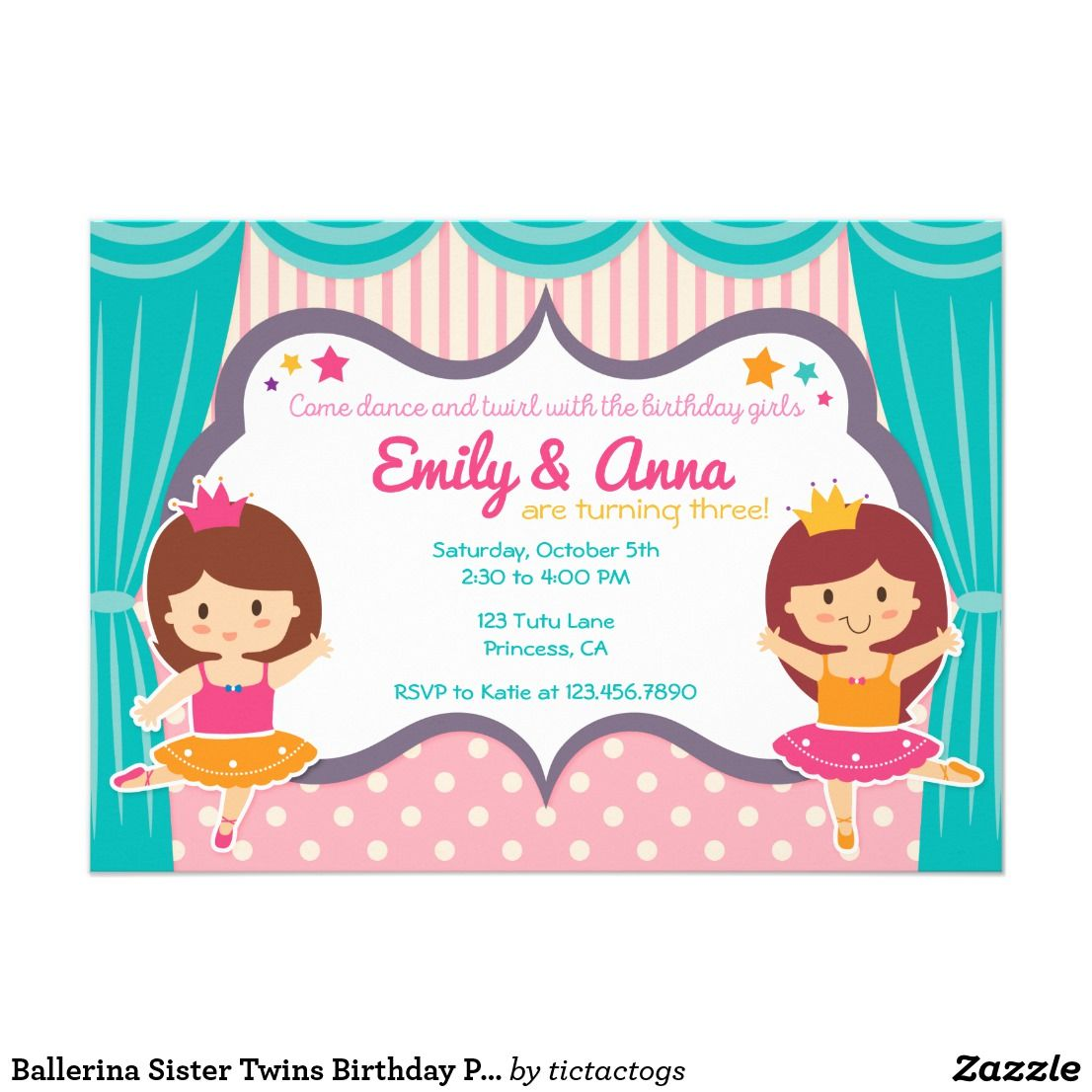 Ballerina Sister Twins Birthday Party Invitation | Pinterest | Twin ...