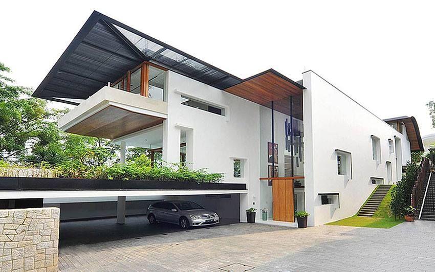 Bungalow Interior Decorators Chennai Designers: Down Side Car Parking With Bungalow Exterior Architecture