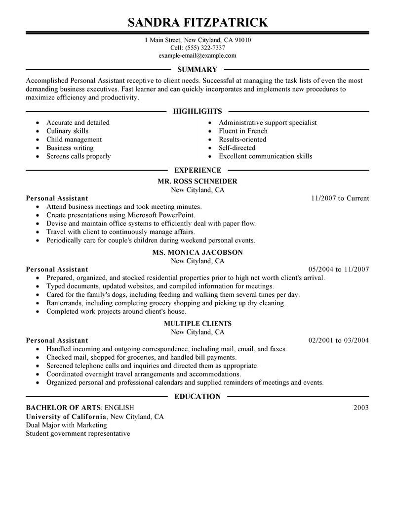 Best Personal Assistant Resume Example Livecareer Choose  Home