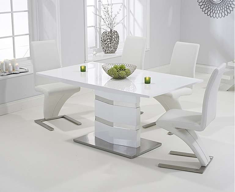 Serena 160cm White High Gloss Dining Table with Hampstead ...