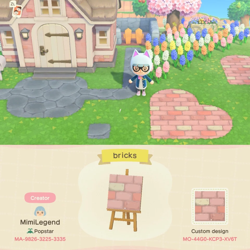 Made a brick design inspired by the pink house. Lay it on top of dark dirt for b…
