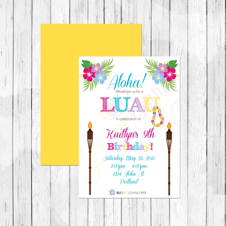 Luau Theme Birthday Party Personalized Birthday Invitation or