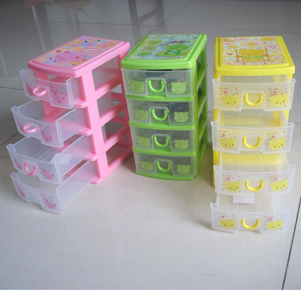 Lovely 4 story Drawer Organizer plastics Jewelry Accessory Container
