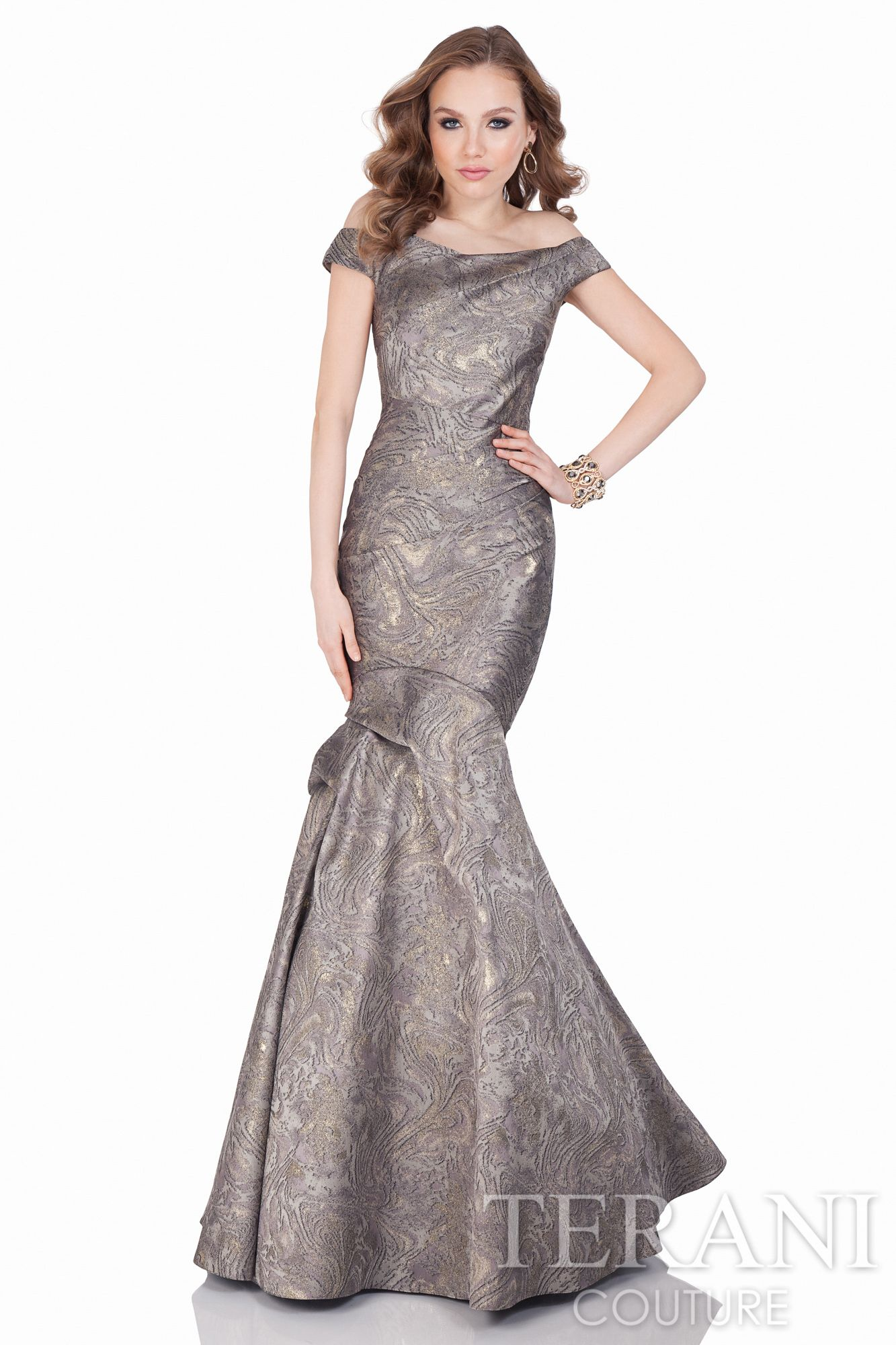 Dramatic off the shoulder evening gown in a tonal marble design jacquard is  enhanced with a pleat shaped fitted torso. 15428d28d7c2