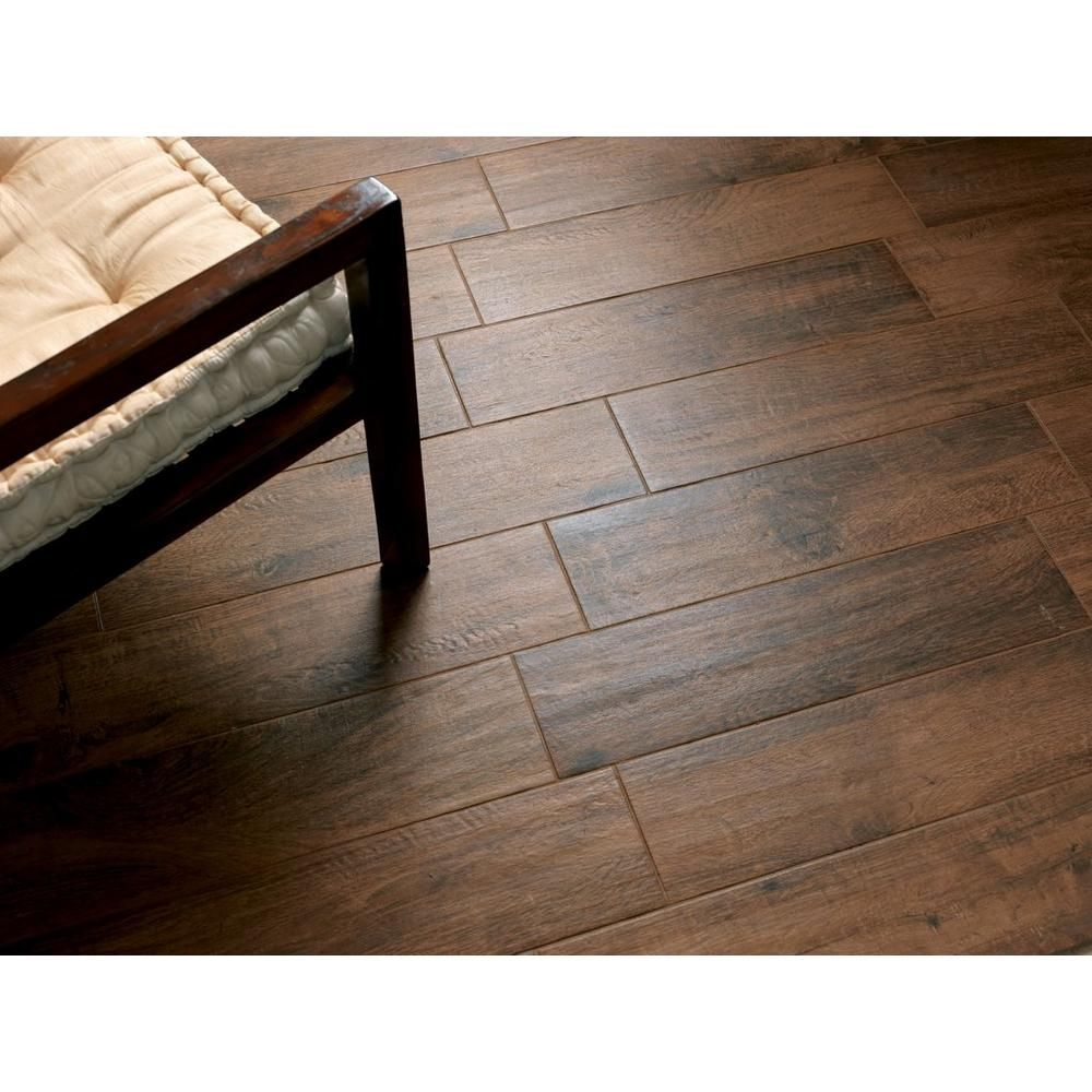tabula cappuccino wood plank porcelain tile - 6in. x 40in