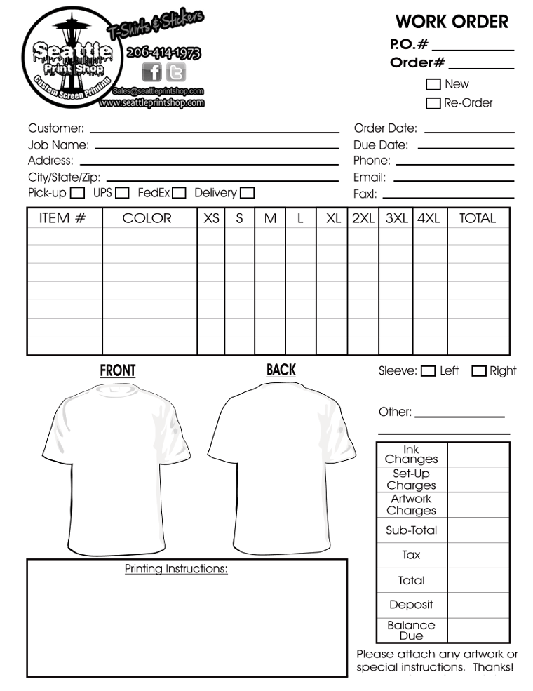 tshirt order form 2. Custom screen printing, Screen