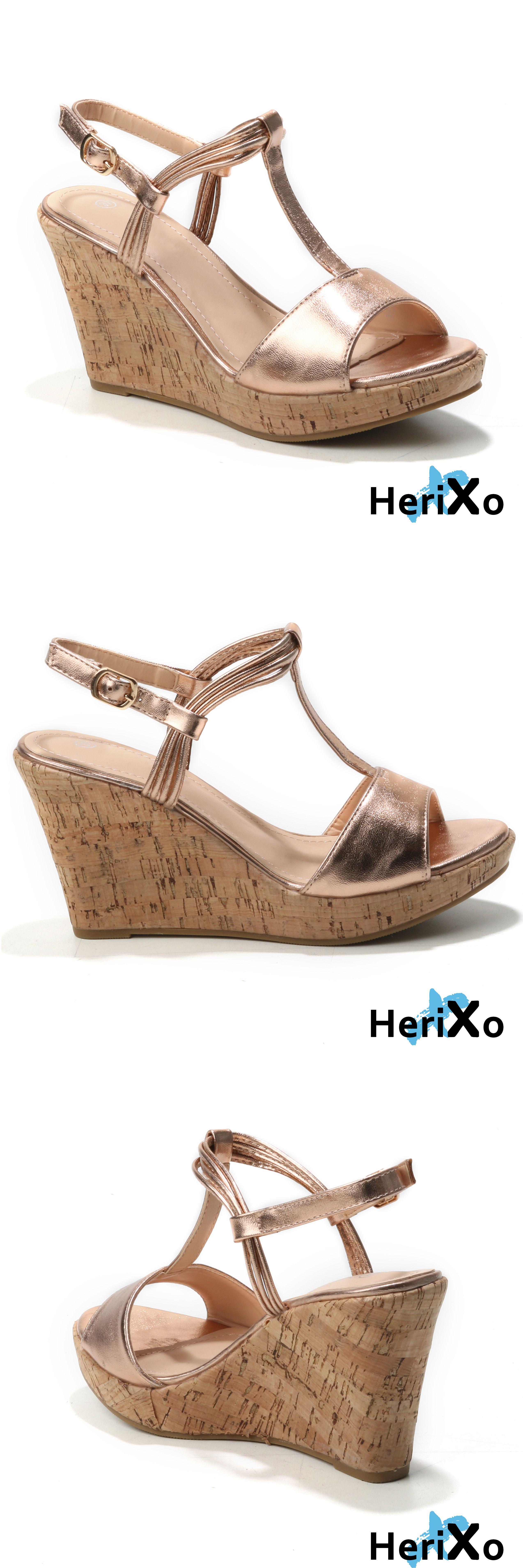 Sandara Damen Schuhe Offene Sandalen Kork Keilabsatz Wedge