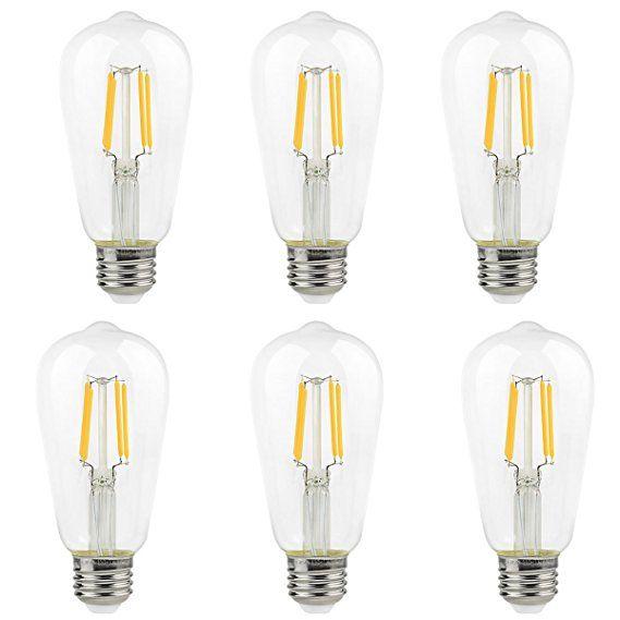 La Farah Edison LED Bulb 4W Non-Dimmable 6 Pack,E26 Vintage Edison