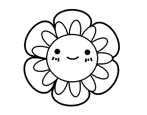 Dibujo de Flor infantil para Colorear | Kawai | Hello kitty