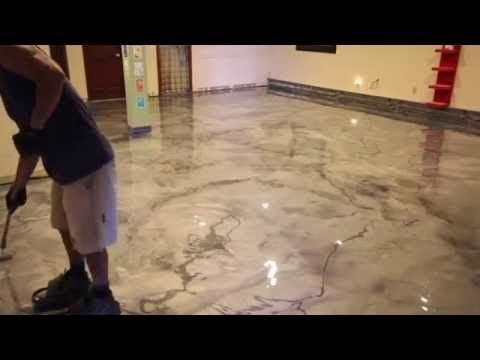 Designer Metallic Epoxy Installation On Ceramic Tile This Video Demonstrates Our Flooring System Being Installed Top Of