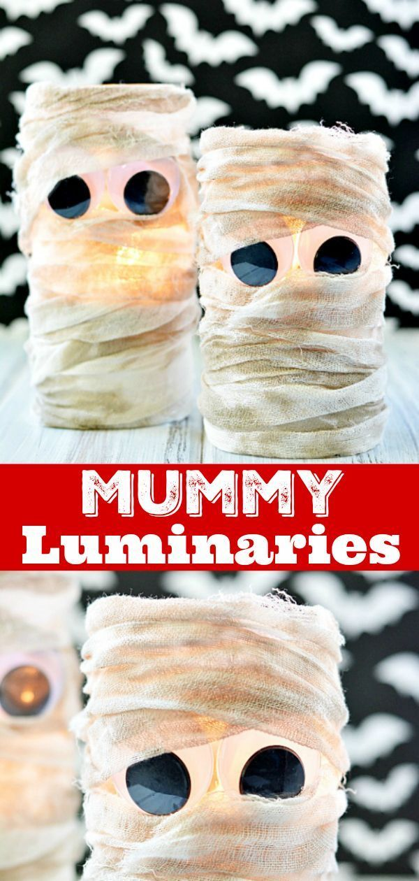 DIY Mummy Lanterns are easy to make and a great way to decorate your porch for Halloween. All you need is a dollar store vase and cheesecloth! #mummy #halloween #decoration #diy #crafts