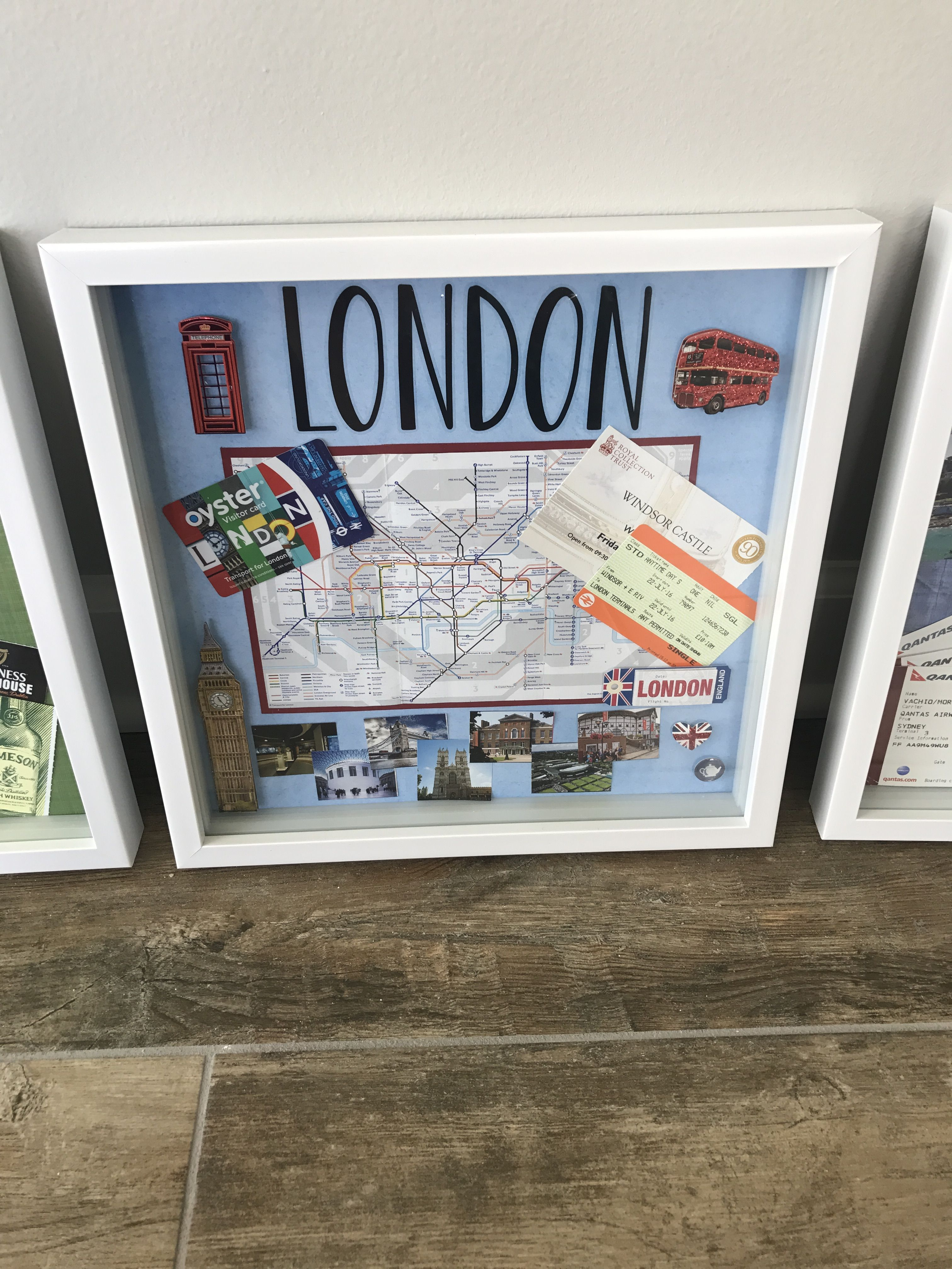 London Shadow Box Travel Shadow Boxes Travel Keepsakes Diy Travel Decor