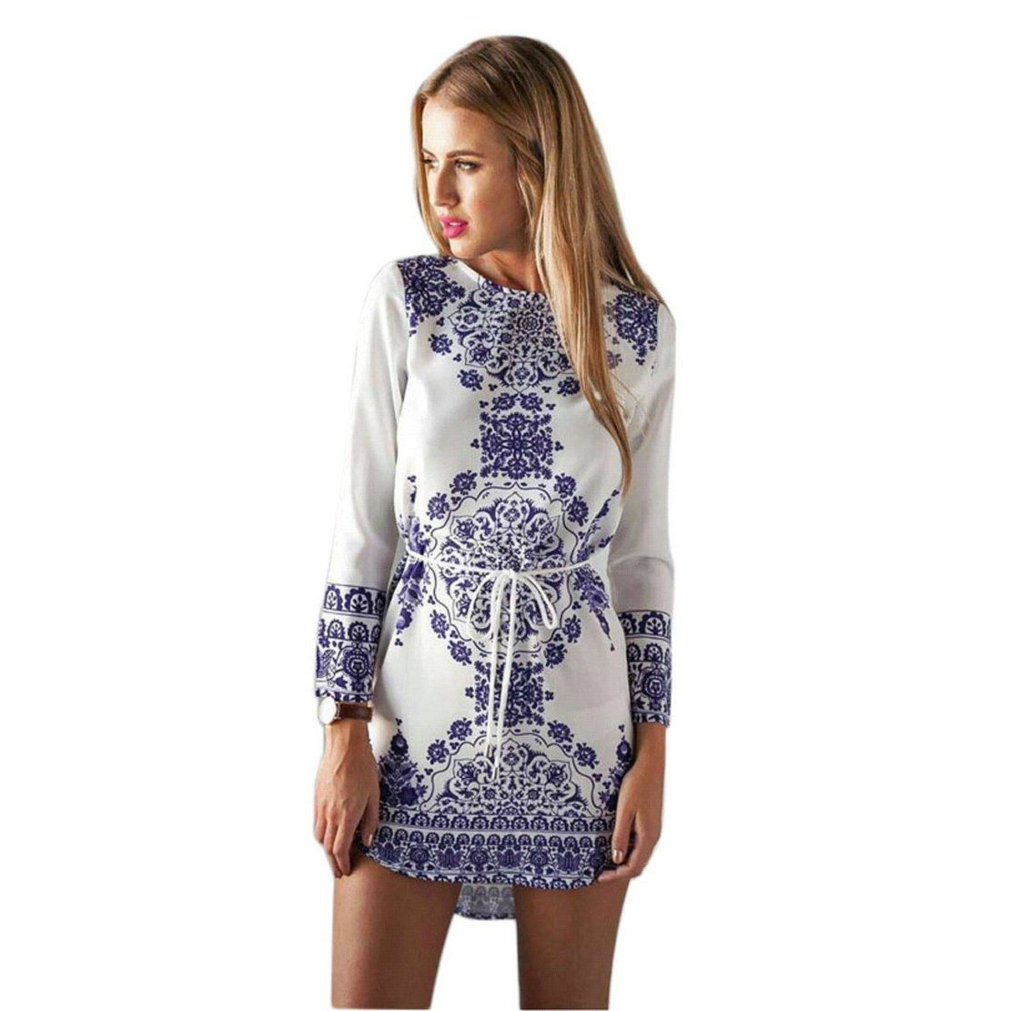 Towallmarktmwomens long sleeved floral print cocktail party dress