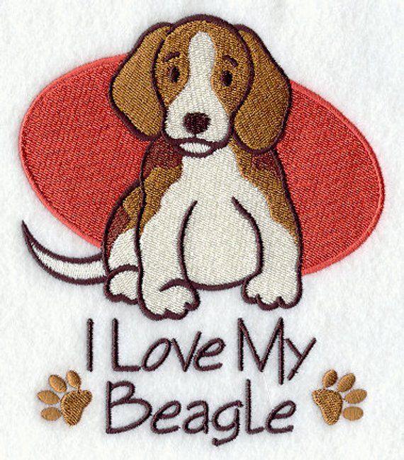 I Love My Beagle Embroidered Flour Sack Hand Dish Towel Beagle