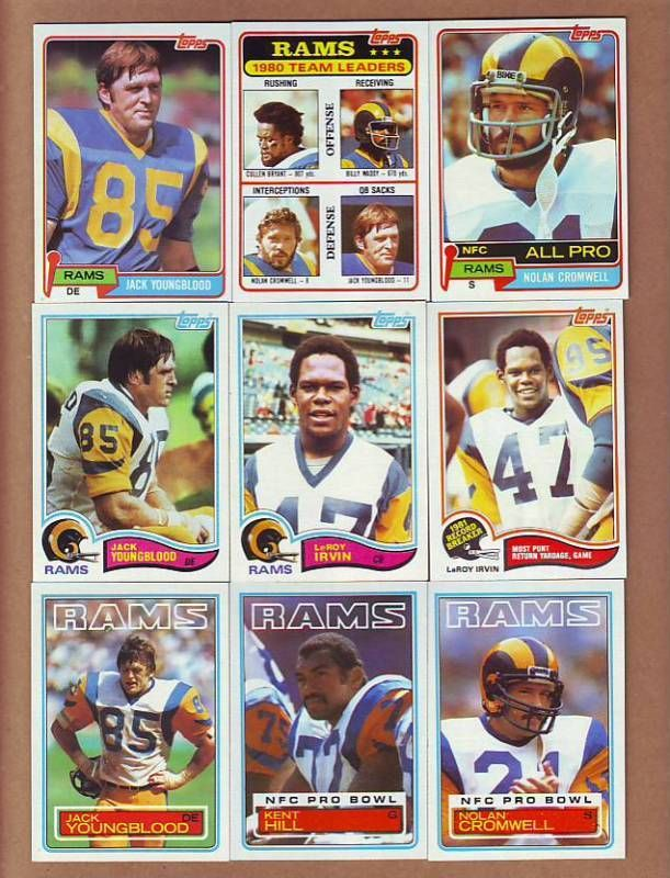 complete 1981 1982 and 1983 topps los angeles rams team sets - jack youngblood from $9.99