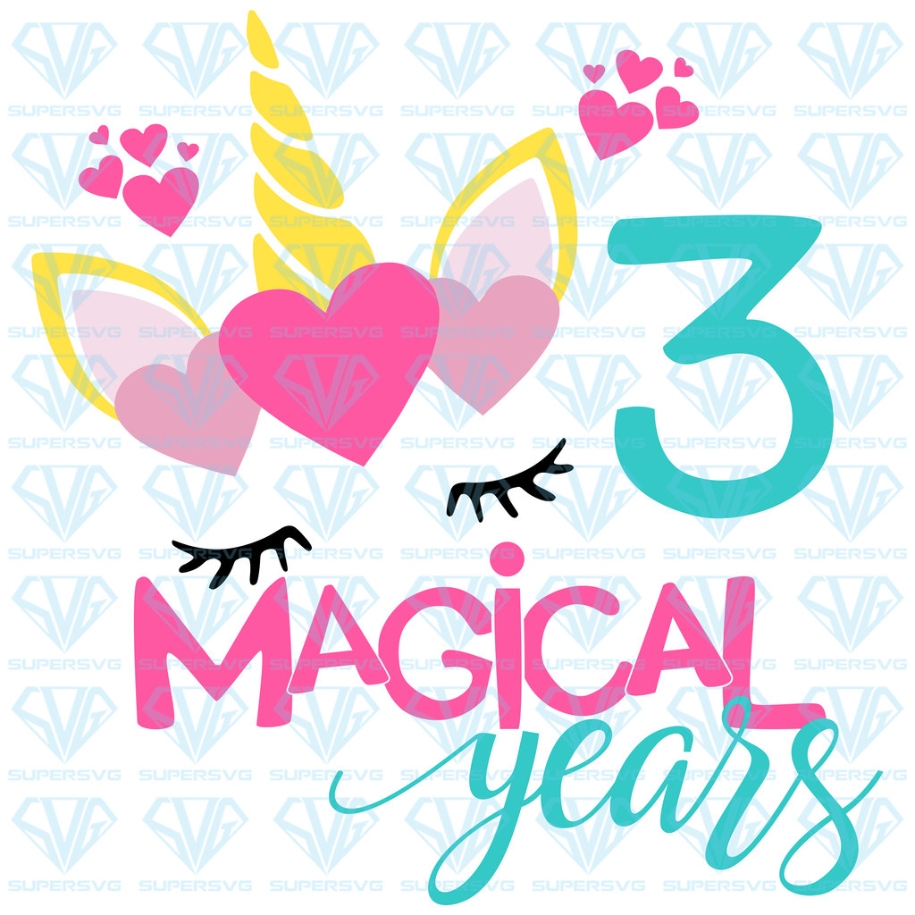 Three Magical Years Birthday Svg Files For Silhouette Files For Cricut Svg Dxf Eps Png Instant Download In 2020 Svg Unicorn Svg Flower Svg