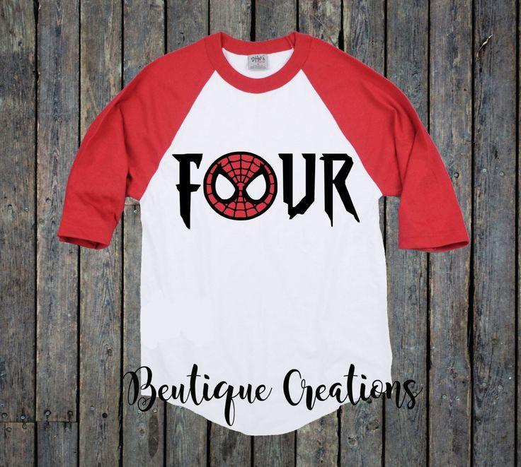 Spiderman Birthday Shirt Superhero 4th Four ShirtBoy 4 Boy