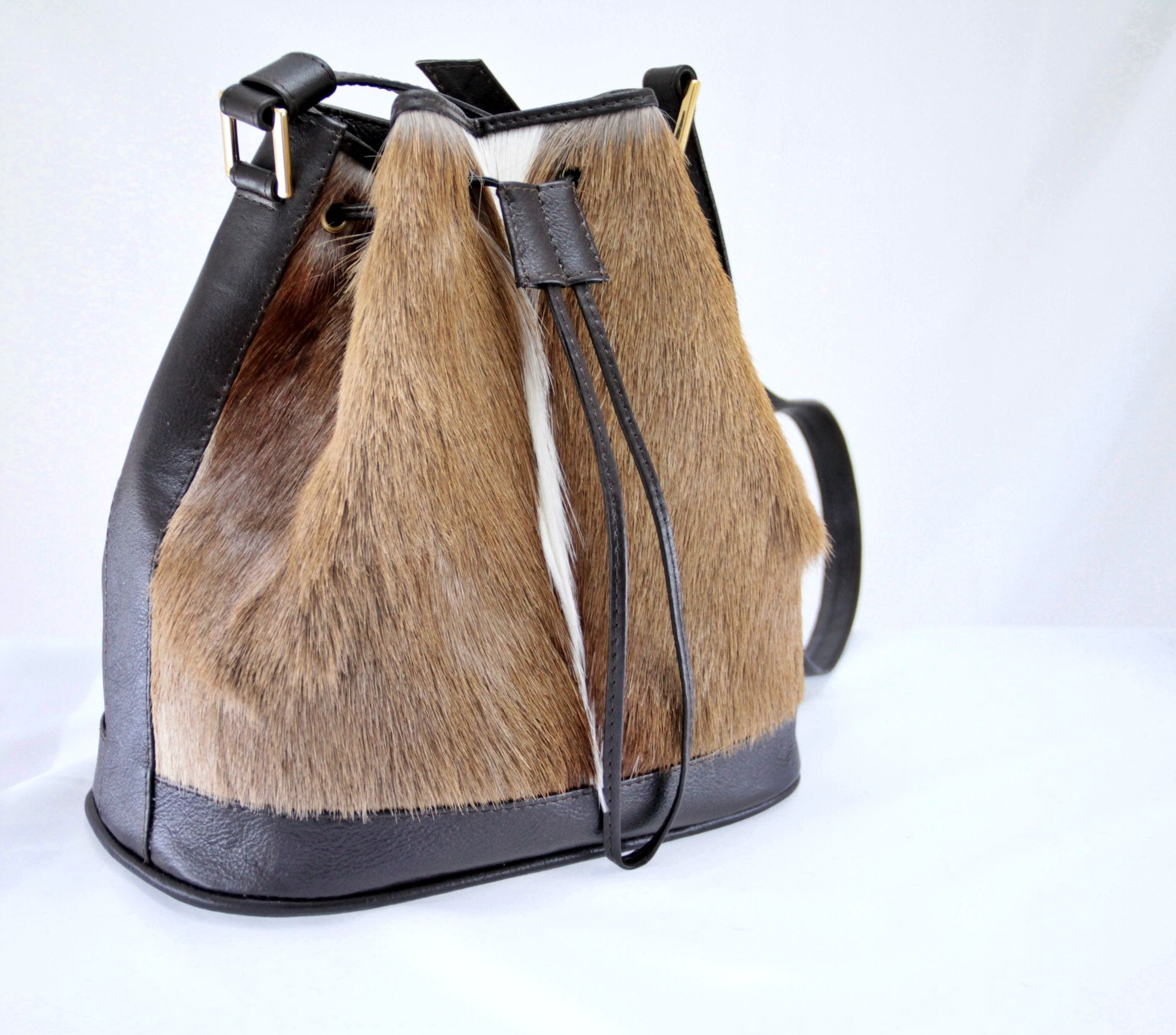 Corbeau 818 In Springbok Hide Bucket Bag Made With Ostrich Leather Handcrafted Just For You By Cape Town Fashion New Handbag