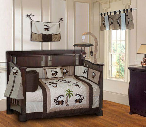 Babyfad Monkey Boys Baby Crib Bedding Set With Musical Mobile