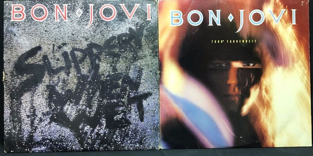 Bon Jovi Slippery When Wet 7800 Fahrenheit Lp Vinylrecords Lot Of 2 Vinyl Records Bon Jovi Lp Vinyl