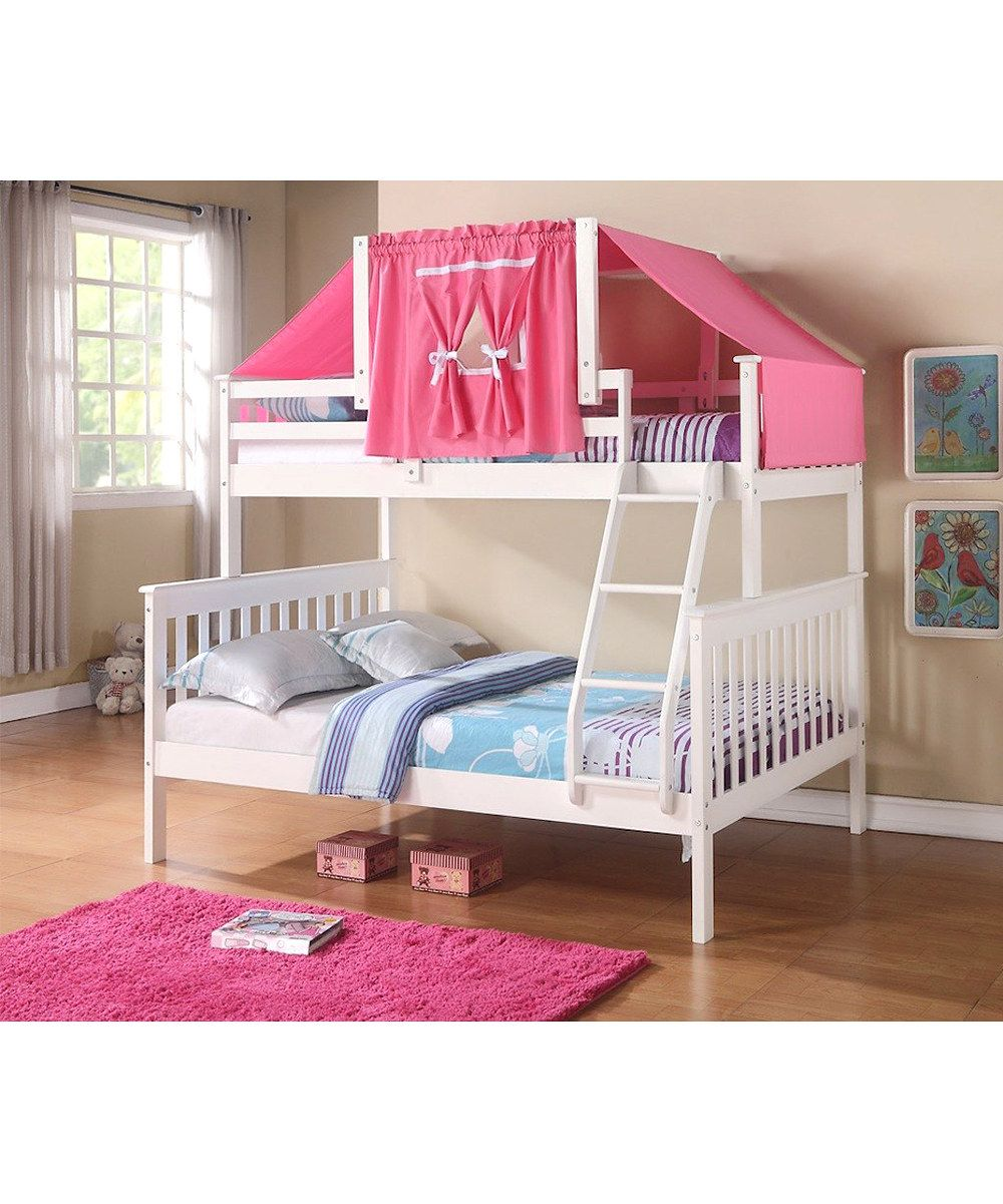 Donco Kids White Amp Pink Mission Twin Amp Full Tent Bunk Bed