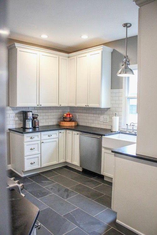 Black Tiles For Kitchen Floor Beautiful Best 25 Dark Tile Floors Ideas On Pinterest Classic Small Trendy Kitchen Tile Simple Kitchen Cabinets Kitchen Flooring
