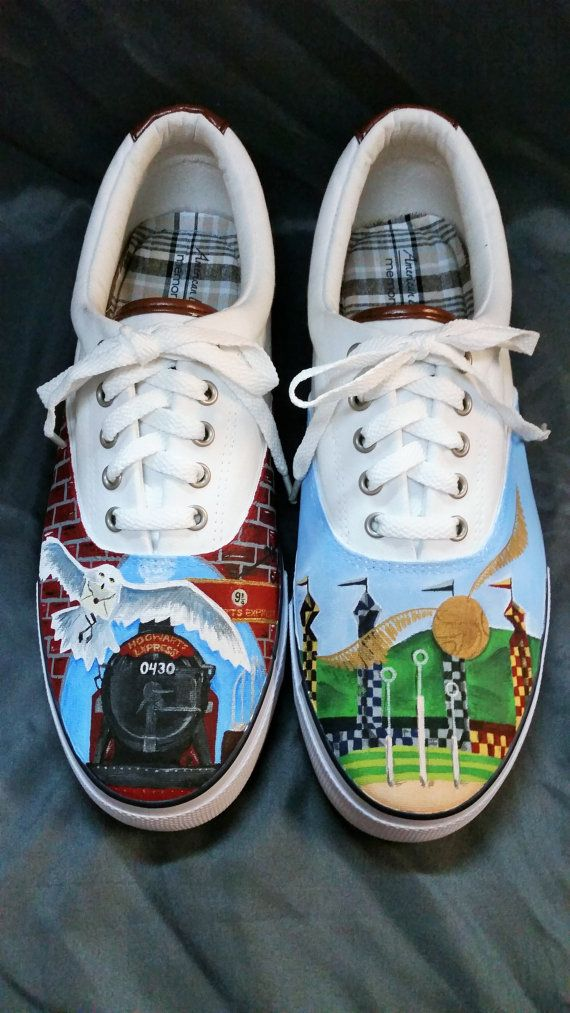 e5e2230b6e6 Custom Painted Harry Potter Shoes by ShinyShoesnDecor on Etsy ...
