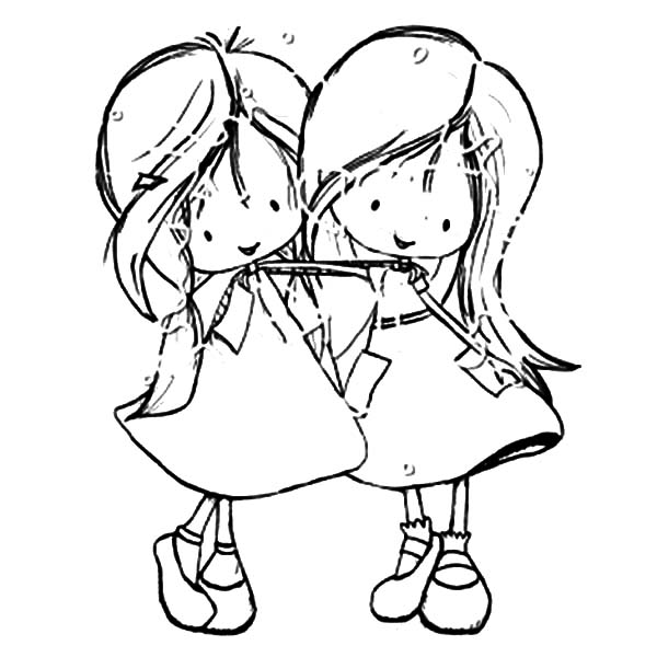 Best Friends Two Little Girl Coloring Pages Best Place To Color Bear Coloring Pages Coloring Pages For Girls Drawings Of Friends