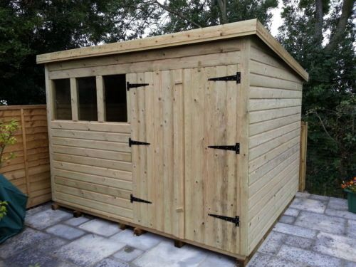 garden shed heavy duty tanalised 10x8 pent 13mm tg 3x2 framing