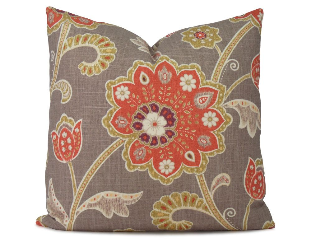 Gray Orange And Kiwi Green Floral Ikat Decorative Pillow