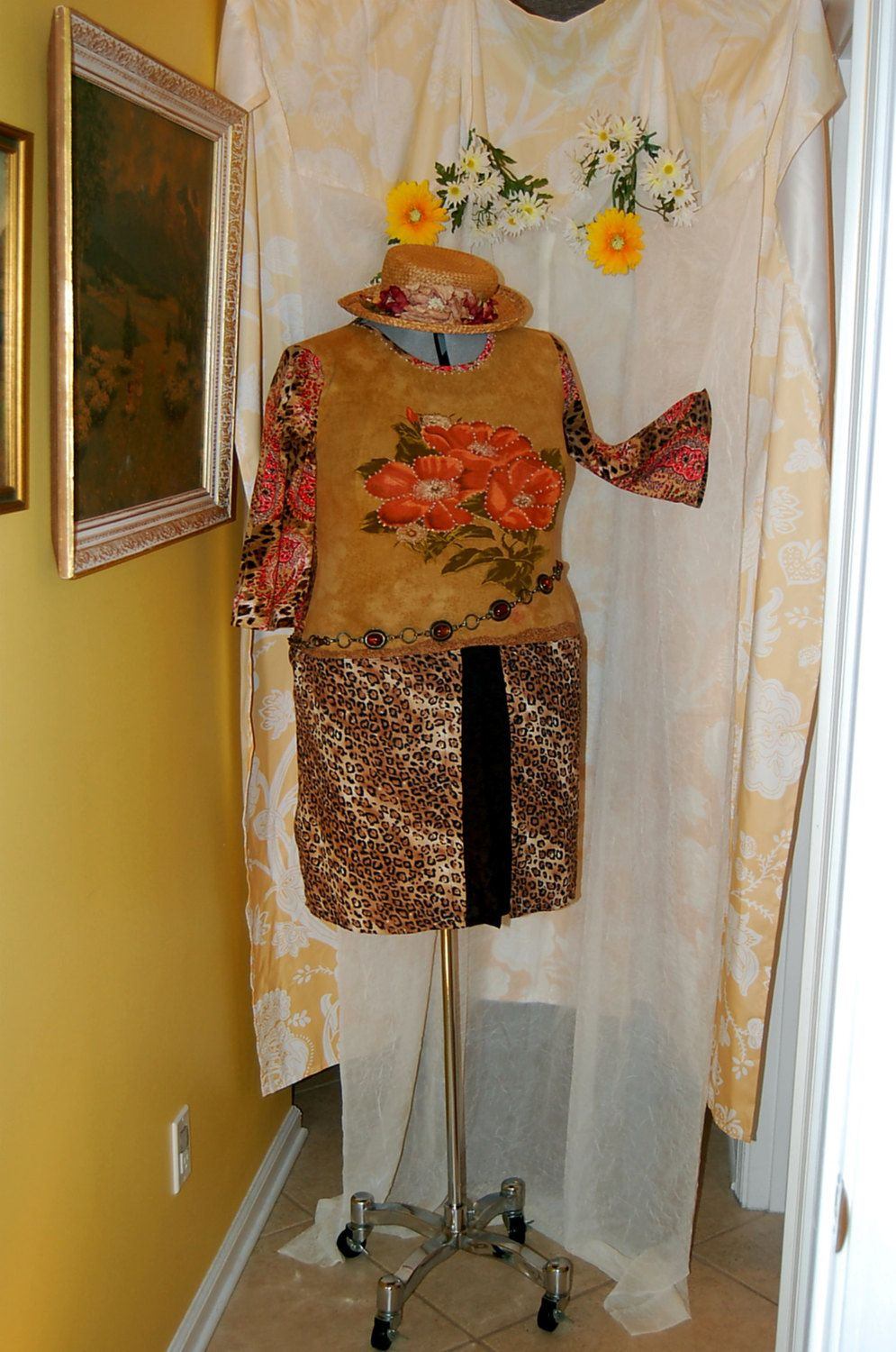 plus size free ship L-XL leopard floral paisley tunic eyelet lace sequins refashioned restyled altered upcycled boho top knit by RestyledBohoPlus on Etsy https://www.etsy.com/listing/235916022/plus-size-free-ship-l-xl-leopard-floral