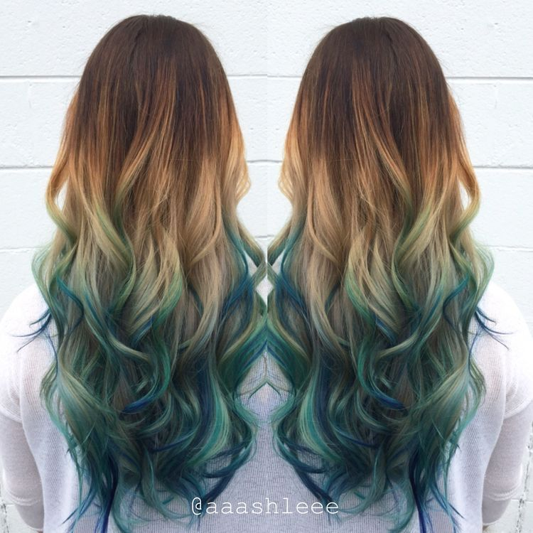 Brunette blonde blue green ombré long wavy hair | hair in ...