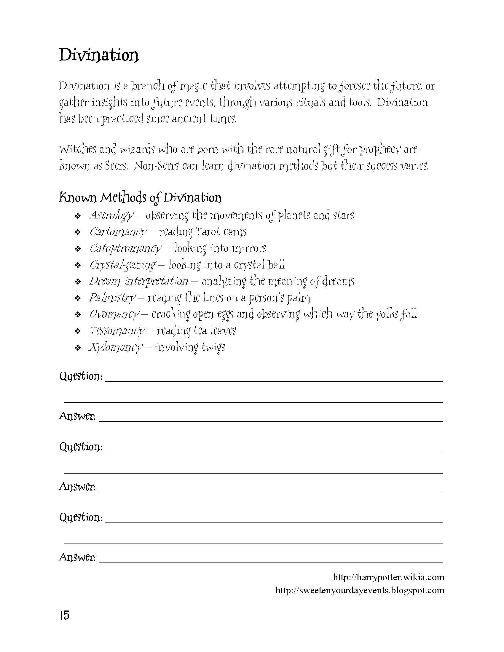 Harry Potter Student Activity Book Divination Magic School Homeschool Language Arts Education Inspiration [ 2200 x 1700 Pixel ]