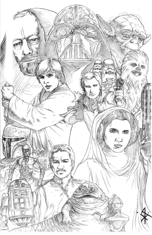 Star Wars Collage Pencils By Benttibisson On Deviantart Star Wars Drawings Star Wars Coloring Book Star Wars Art