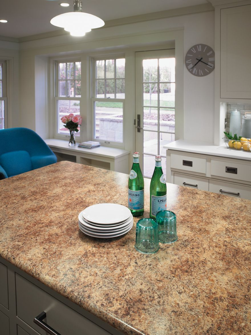 River gold Formica countertops with tyvarian tile backsplash. | My ...