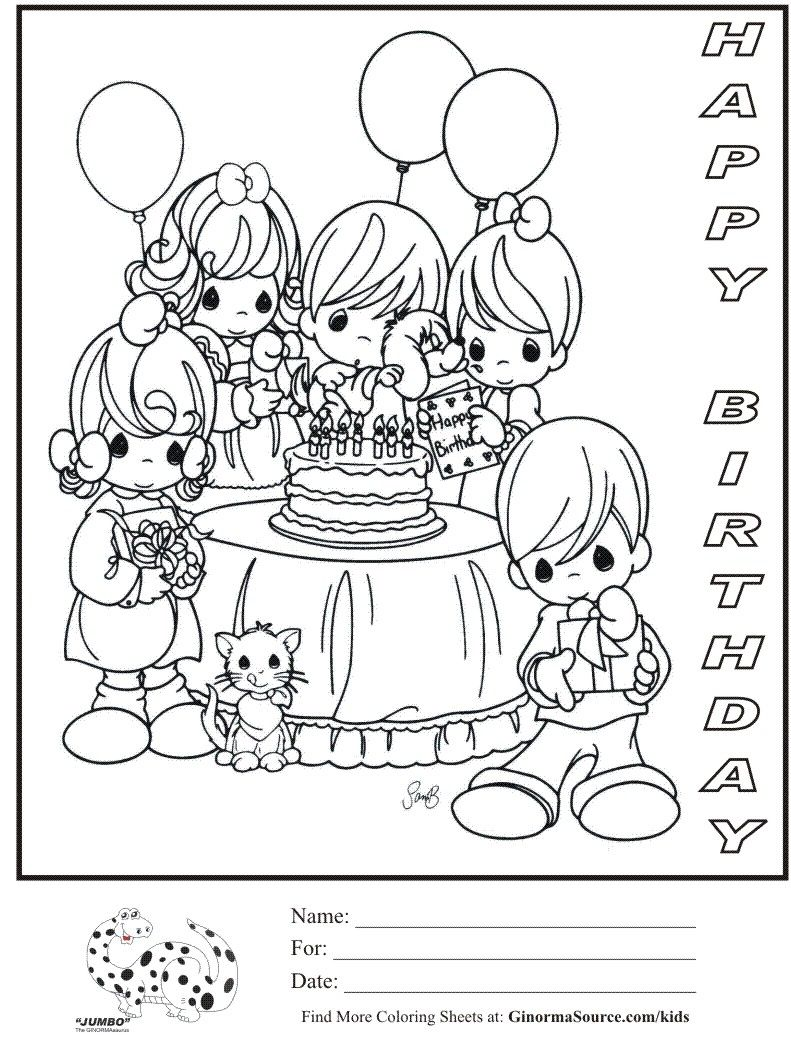 Printable coloring pages happy birthday mom - Precious Moments Coloring Page Happy Birthday Party