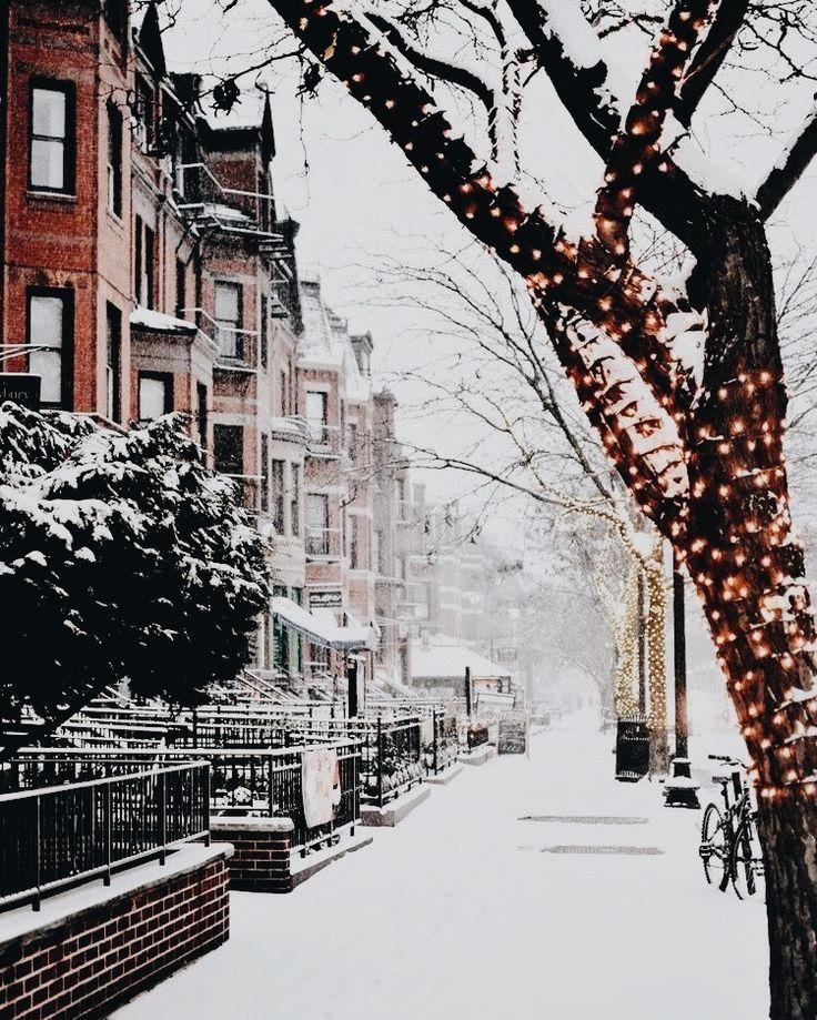 a snowy city street