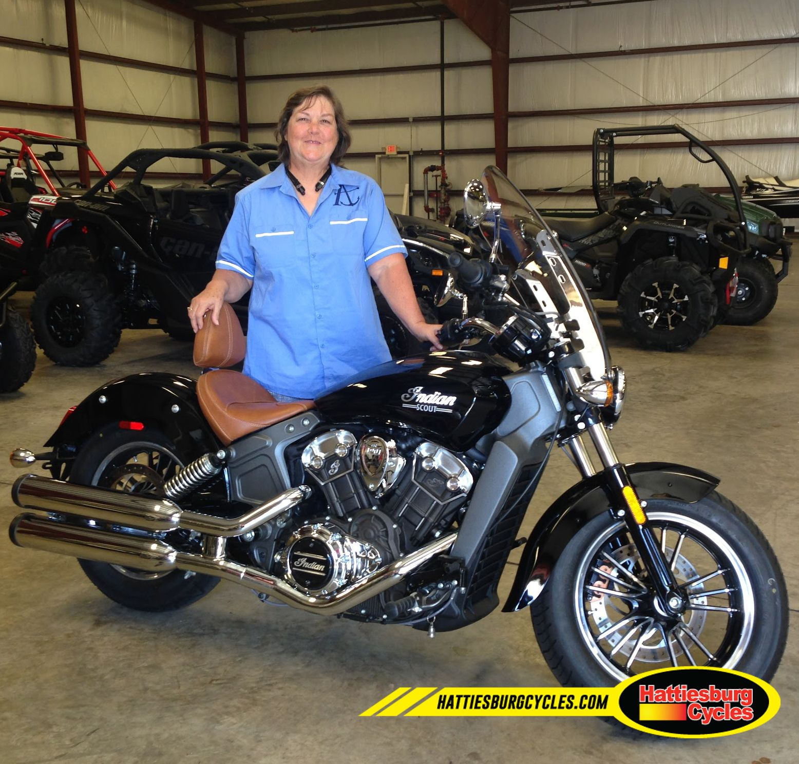 Thanks to Joan Tomb from Vancleave MS for getting a 2016 Indian Scout @HattiesburgCycles