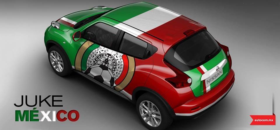 ¡Uno de los favoritos!... el Nissan Juke de MÉXICO, el diseño toma lo más característico de nuestra bandera y las playeras de la Selección, logrando una propuesta fuerte, llamativa, radiante y tricolor.   #ViveElMundial