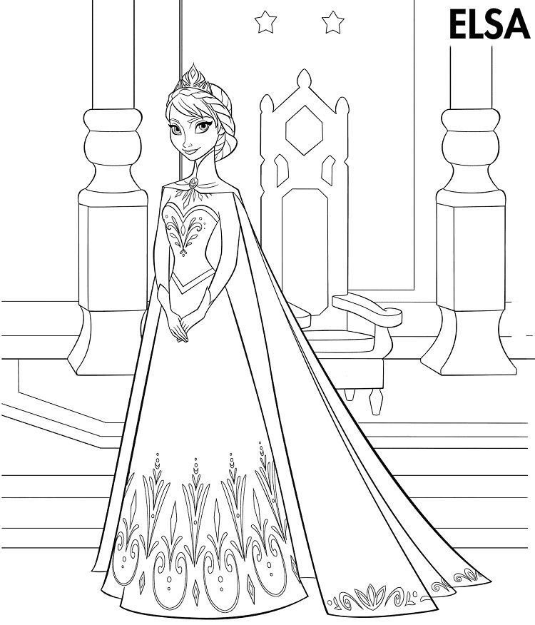 Frozen Coloring Pages Elsa Coronation In 2020 Princess Coloring Pages Elsa Coloring Pages Frozen Coloring Pages