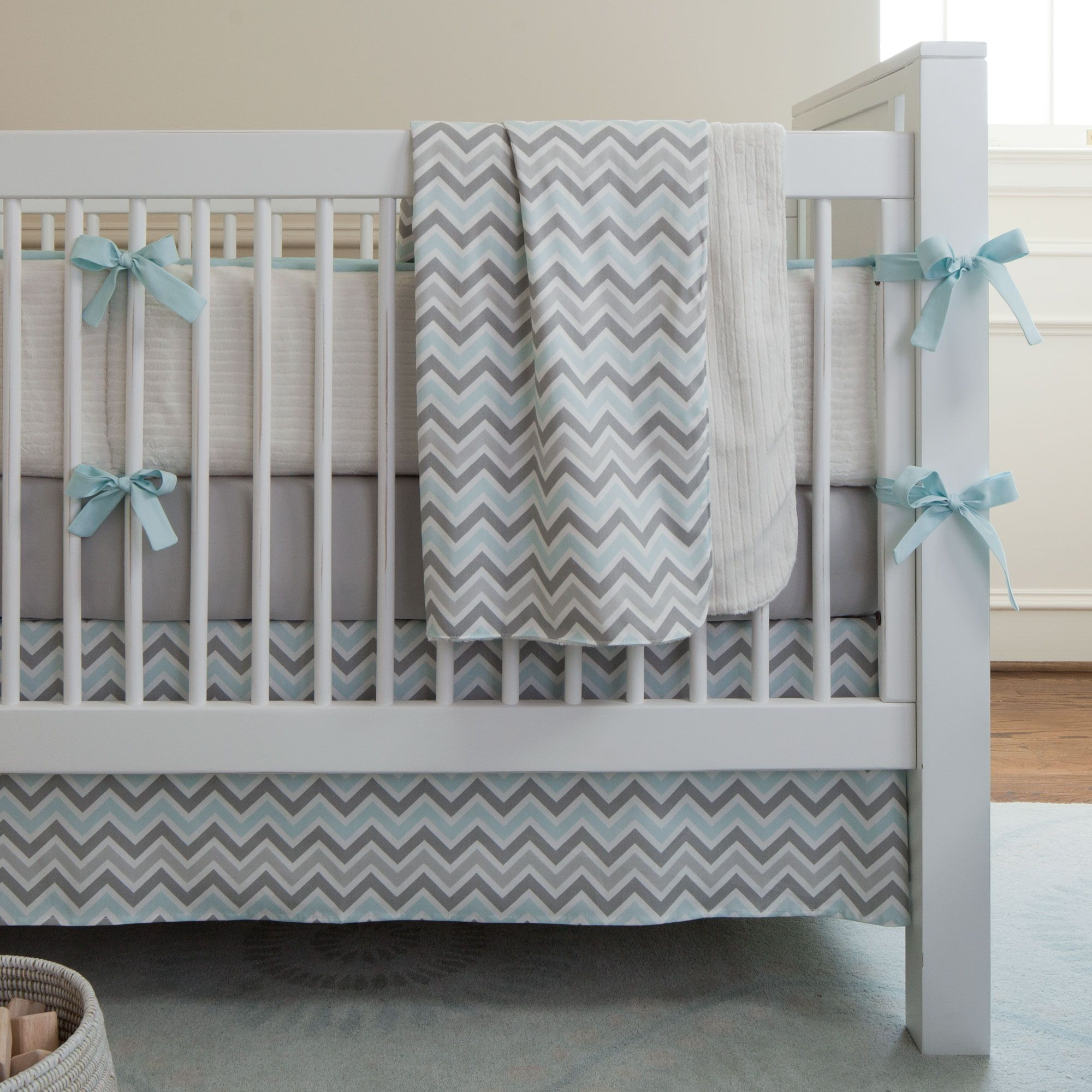 Mist And Gray Chevron Crib Bedding Baby Bedding In Blue And Gray