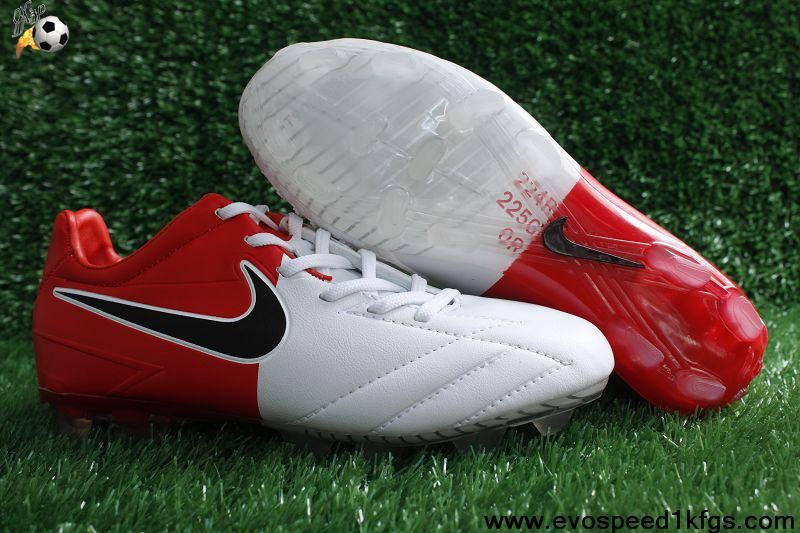 Latest Listing Cheap Nike Total90 Laser IV FG White-Deep Red-Black Football  Shoes